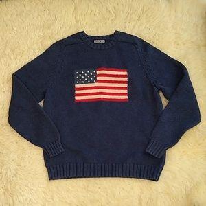 VTG Lands End American Flag USA Sweater 8-10 M